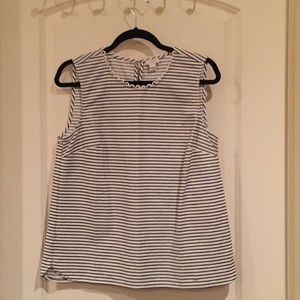 Navy blue and white striped sleeveless top